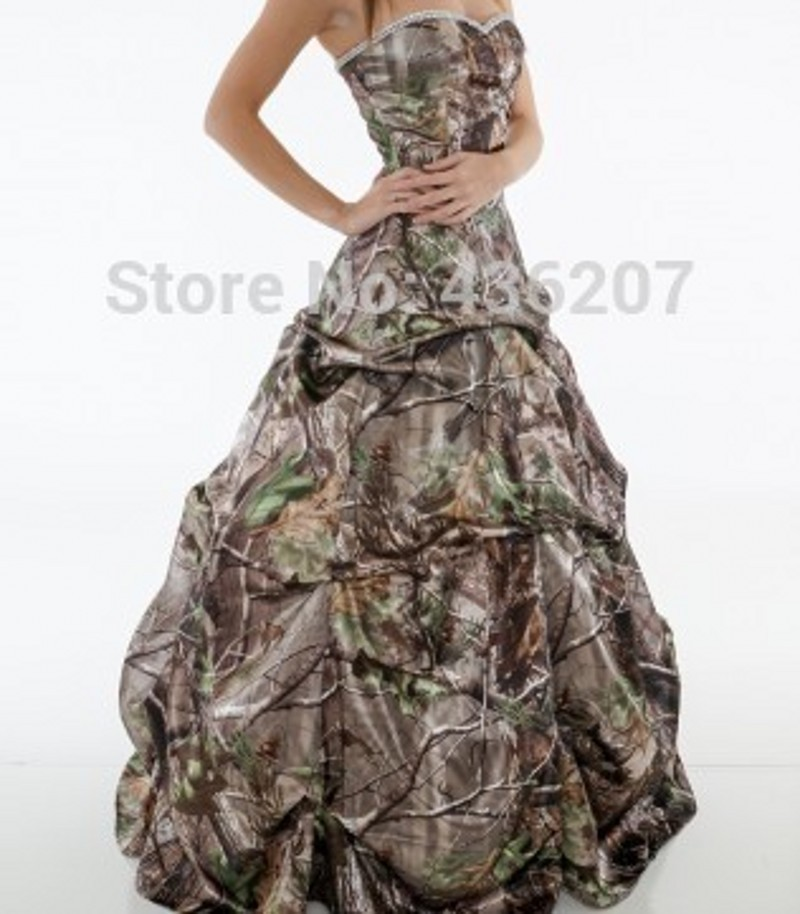 Fashionable Beaded Sweetheart Print Camo Wedding Dresses Abendkleid 2015 Fancy A-line Pick up Camouflage Bridal Dress HS3