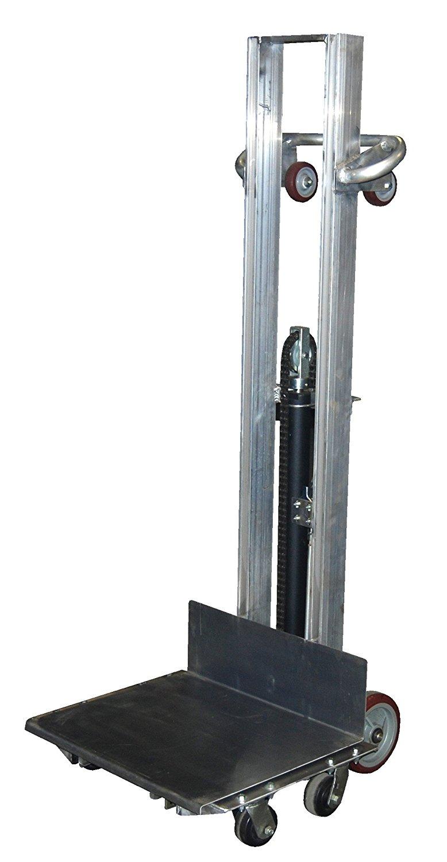 "Vestil ALLH-2420-4SFL Aluminum Lite Load Lift, 400 lb. Capacity, Foot Pump, Height Range 6-1/8""-54-1/8"", Overall 27-3/16"" Width x 29-9/16"" Length x 68-7/8"" Height, Platform 24"" x 20"""
