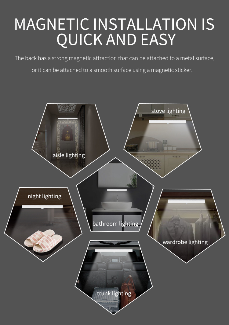 2020 LED Wireless Motion Sensor Light Intelligent Portable Infrared Induction Lamp Night Lights for Cabinet Closet