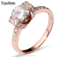 TransGems 1Carat GH Color Lab Grown Moissanite Diamond Wedding Anniversary Band Solid 14K Rose Gold Engagement jewelry Ring