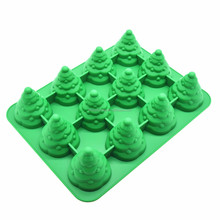 Benhaida 12 Holte 3D Kerstboom Maker voor Cake Muffin, Hittebestendige <span class=keywords><strong>Siliconen</strong></span> Bomen Cake Decorating Mold <span class=keywords><strong>Bakvormen</strong></span>
