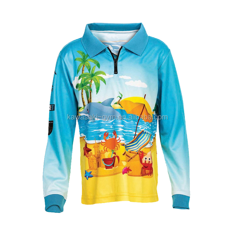 Team design fashion kids sublimation fishing jersey wholesale