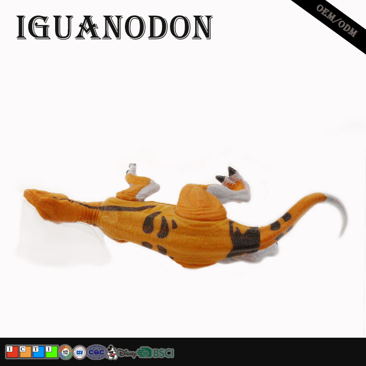 miniature dinosaur model limbs can move orange color iguanodon resin craft custom action figure for collection