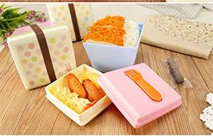 Bento Lunch Box Cartoon Cute Animal with Little Fork Bento Lunch Meal Box Tableware Suit for Microwave Oven Ab0031