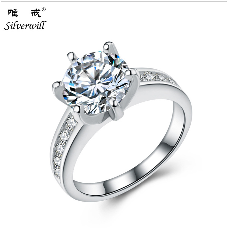 925 sterling silver bling luxury round cut CZ wedding ring for women