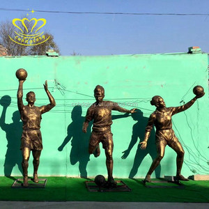 Outdoor garden decor New product bronze Life Size Boy playing football sports sculpture