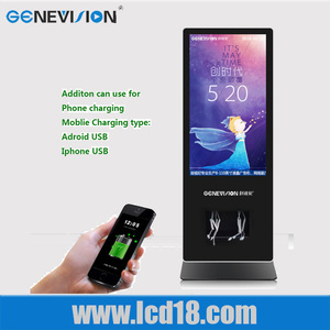 55 inch indoor mobile phone charge floor stand digital signage internet advertising display