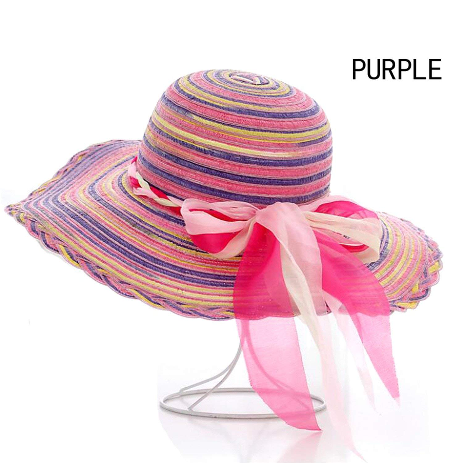Get Quotations · Dedesty Floppy Straw Hats Casual Vacation Travel Wide  Brimmed Sun Hats Foldable Beach Women with Big 3d63b3323ad