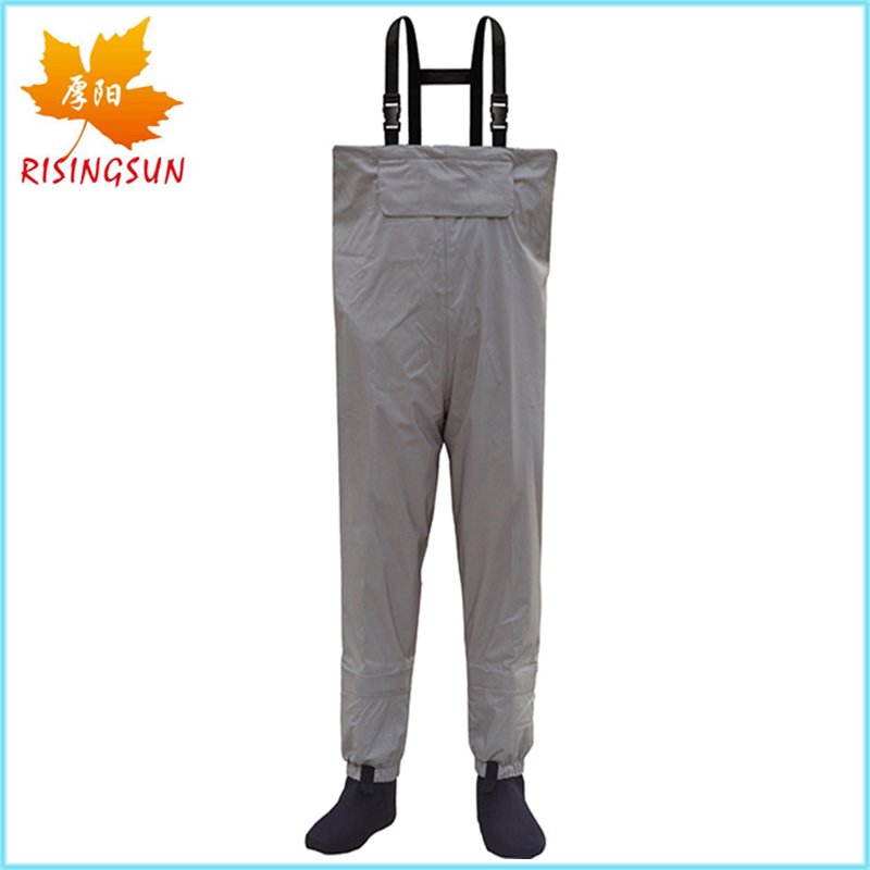 Risingsun Breathable Fishing Waders Portable Stocking Foot Chest Waders with Neoprene Fishing Boots Waterproof Clothes