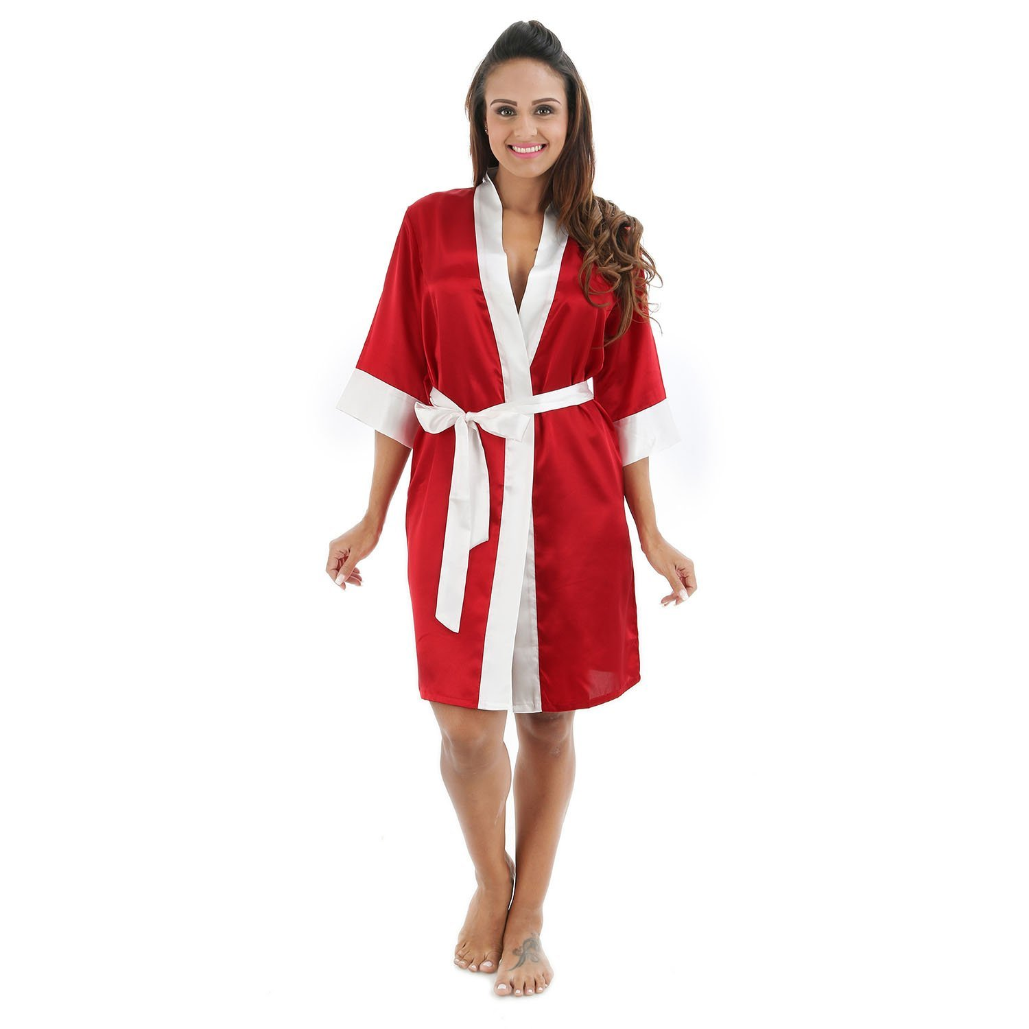 7a1c60c805 Get Quotations · Bathrobe Ladies Silk Satin Dressing Gown Robe Bathrobe Tie  Waist Long Kimono Relaxed And Confortable Home