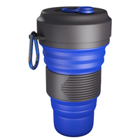 Custom telescopic rubber retractable travel portable drinking water folding cup foldable silicone collapsible coffee cup