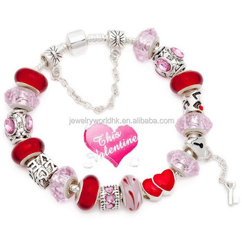 Free Shipping! Valentines day gift Hot Sell Fashion European Murano Glass Bead Charm Beaded Bracelet for Women Jewelry Jewellery