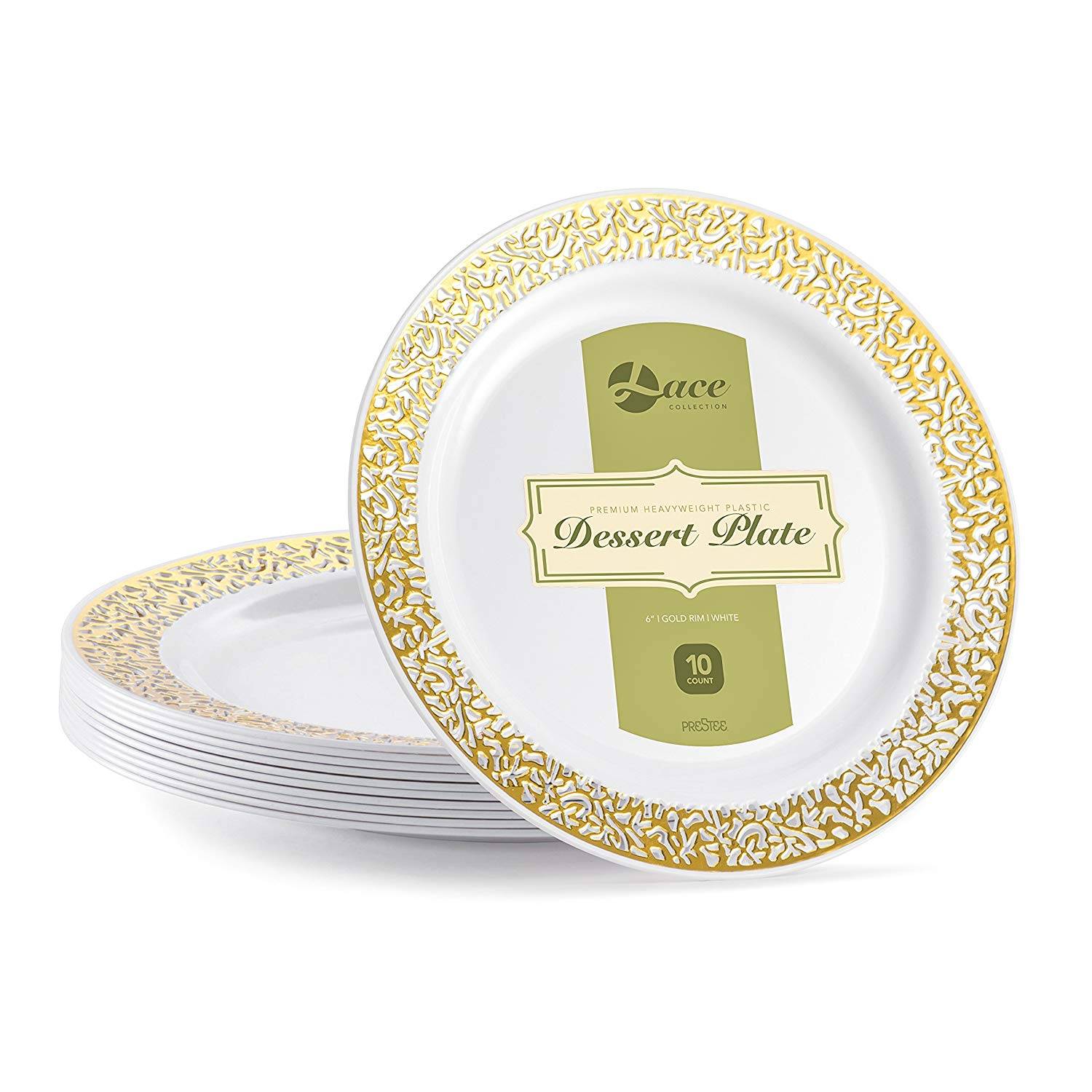 LACE PLASTIC PARTY DISPOSABLE PLATES | 6 Inch Hard Round Wedding Dessert Plates | White with Gold Rim, 40 Pack | Elegant & Fancy Heavy Duty Party Supplies Plates for all Holidays & Occasions