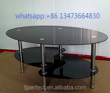 Hot Selling Free Sample Round Mirrored Modern Fancy Bent Glass Top Coffee  Table Shape Oval PCT14109