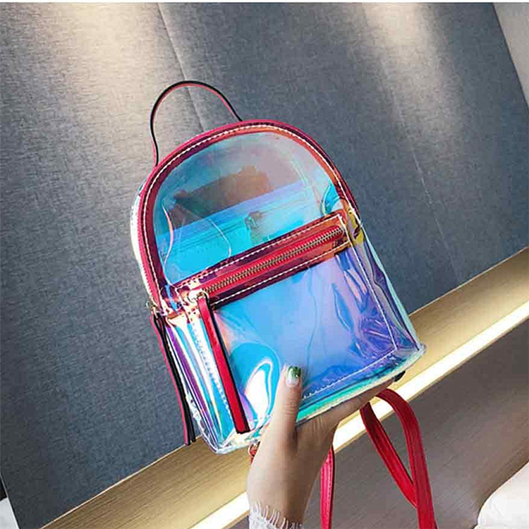 colorful Laser waterproof clear Reflective pvc school bag hologram backpack Transparent Holographic ladies backbags
