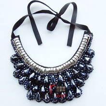 New arrive latest design beads jewelry necklace fashion,chains heavy chunky necklace,cheap vintage gemstone statement necklace