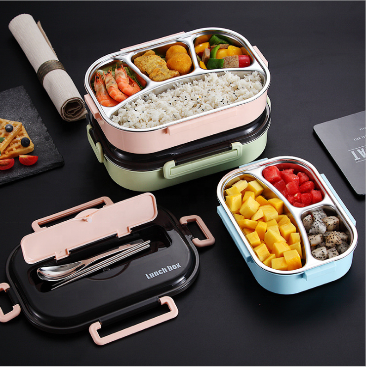 China Flatware Set Built-in Stainless Steel Potlock Food Packaging 2 3 4 5 Compartments heated leakproof Lunch Box