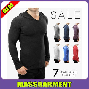 Hot sales plain solid fit long sleeve slim fit tee shirt Blank athletic performance hood t shirt
