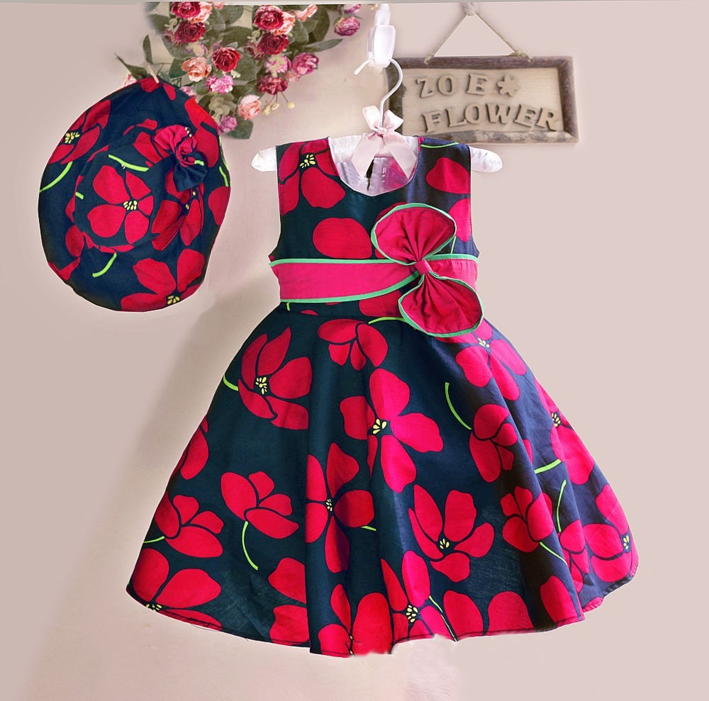2017 summer baby frocks printed patterns kids frock Baby clothing designers