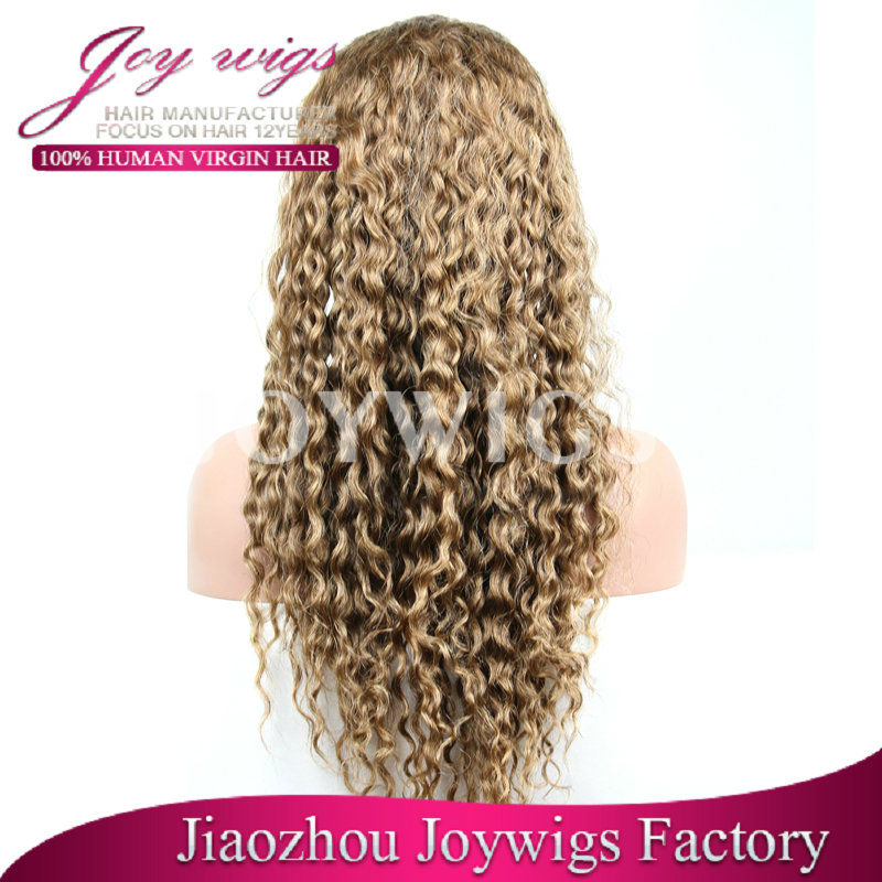 high fashion wigs gold golden european hair jewish/Ko wigs with baby hair in water wave