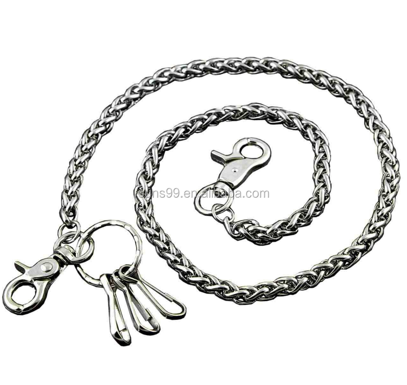 316L Stainless Steel Chain Accessoary Basic Strong Twisted Biker Trucker Keychain Key Jean Wallet Chain