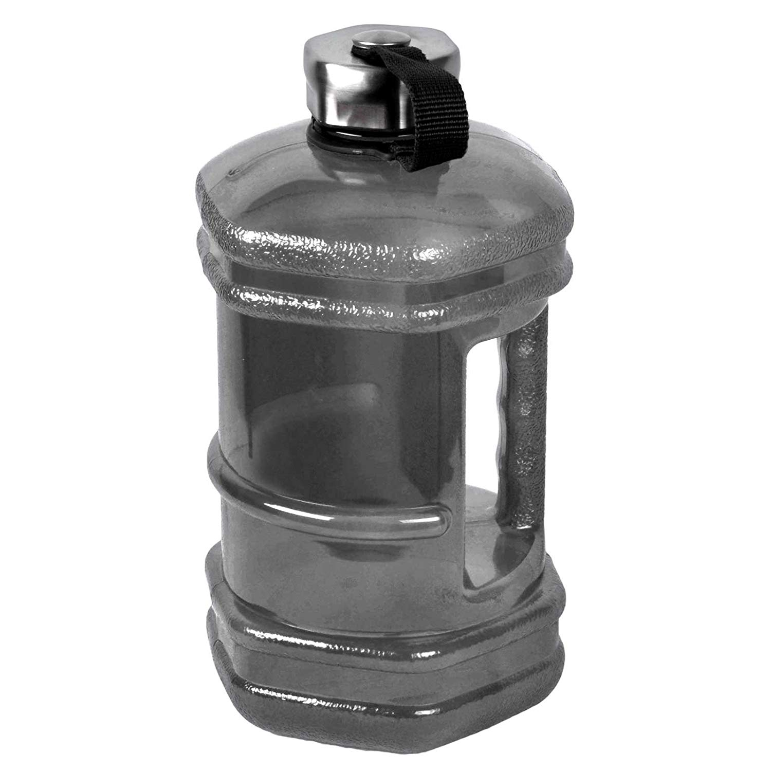 2.3 Liter Hexagon BPA Free Reusable Plastic Drinking Water Bottle Jug Container w/Hand Holder Canteen and Stainless Steel Cap