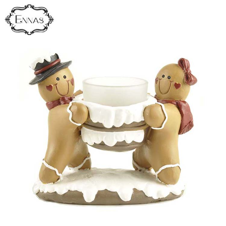 Cheap polyresin wholesale couple gingerbread candle holder home decor