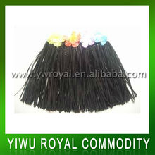 Cheap Black Kids Hawaiian Raffia Hula Skirt