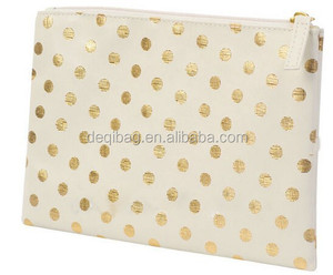 featuring a metallic polka dot pattern PU cosmetic bag/beauty bag
