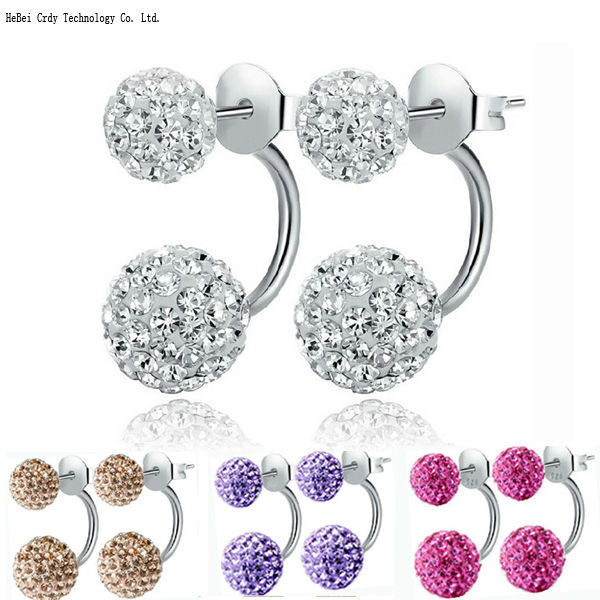 Free Shipping 19 Color Double Side Earring Fashion Brand Jewelry Alloy Earrings Crystal Ball Women Double