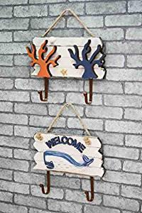 CCWY Wooden mediterranean style ocean winds pattern hooks home decor coat hook solid wood walls hooks