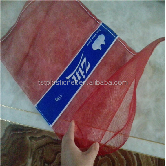 cheap plastic red poly mesh bag for garlic