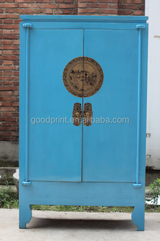 Chinese Antique Blue Wardrobe / Wedding Cabinet