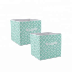 most popular beige square cube non woven foldable bins stackable storage box with handle