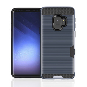 Brushed Card Slot 2 in 1 Scratch-proof Anti-shock TPU PC Smart Cell Phone Mobile Phone Case For Samsung S9 Cover