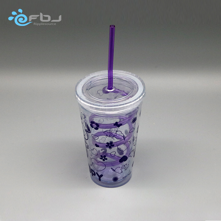 Beautiful custom print plastic three layers 600ml personalize shaker straws best type of collapsible water bottle with straw