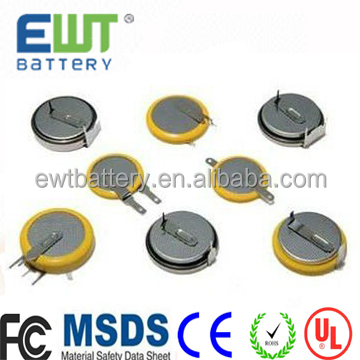 Ewt Brand Smallest rechargeable LIR1025 3.6V li-ion button cell battery for LED light,watch hearing aid battery lir 1025