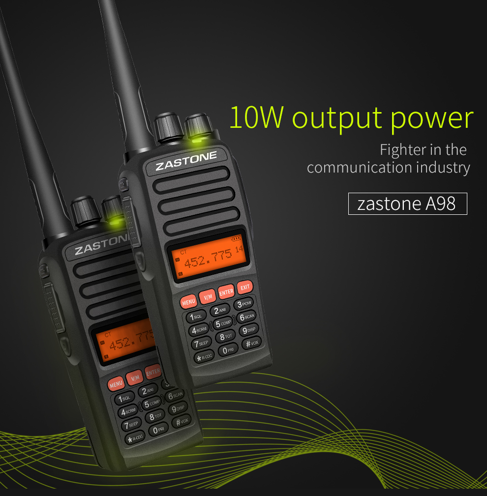 ZASTONE A98  encrypted Military security guard equipment 10watt Long range police handheld UVF  walkie talkie two way radio
