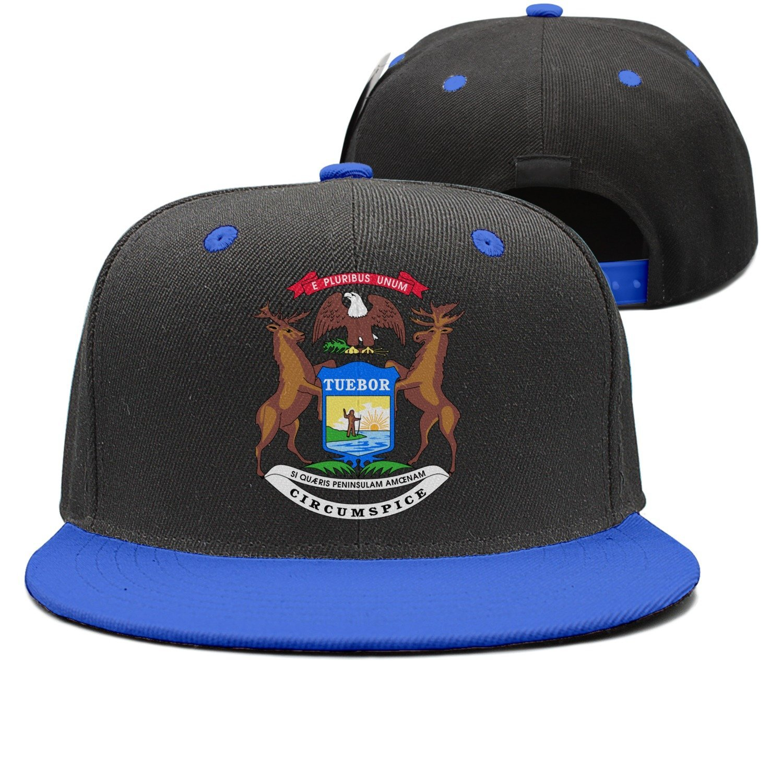 new style 3962b ce2cc Get Quotations · SPN37Y Unisex Hip Hop Hat Snapback Hat Printed Cute  Baseball Cap Hat Michigan Flag Tuebor Circumspice