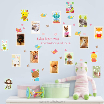 Syene Home Love Photo Frame Wall Stickers Dog And Cat Animals ...