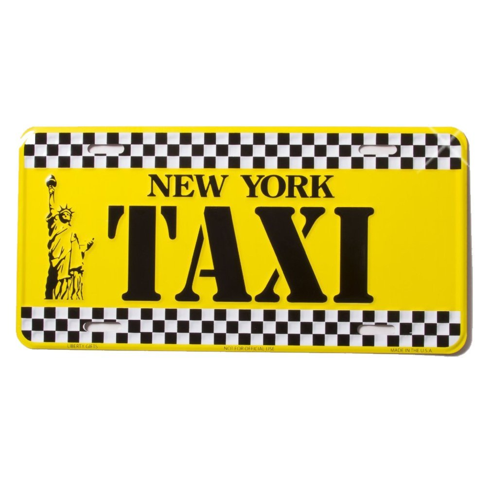 NEW YORK TAXI- New York License Plate NY Yellow Cab Taxi Plate NYC Metal Statue of Liberty Plate NYC Plate Souvenir NY License Plates Decor Decoration