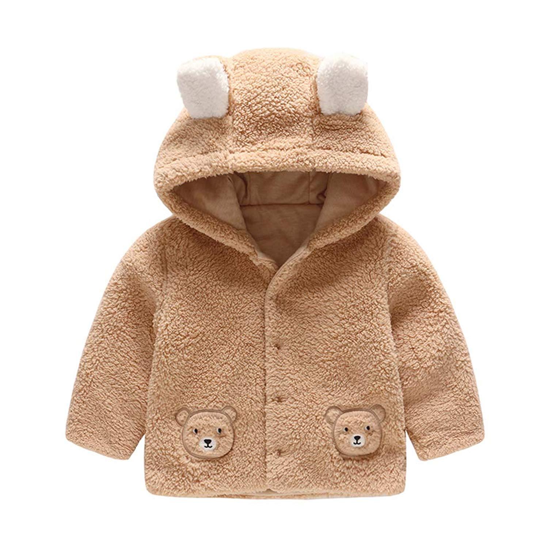 Kimjun Infant Baby Girls Boys Fleece Coat Newborn Toddler Winter Warm Hooded Jacket Outerwear 3-12 Months