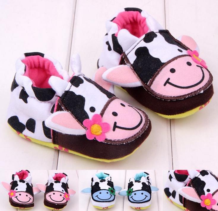 Hot Sale Autumn Spring Cartoon Cow Print Prewalker 0 12 Months Infant Baby Girls Boys Soft