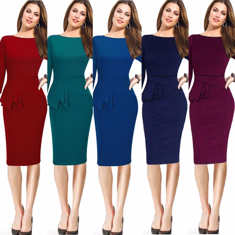 04ed27602bc4e Career Female Peplum Work Dress 3/4 Sleeve O Neck Women Fashion ...