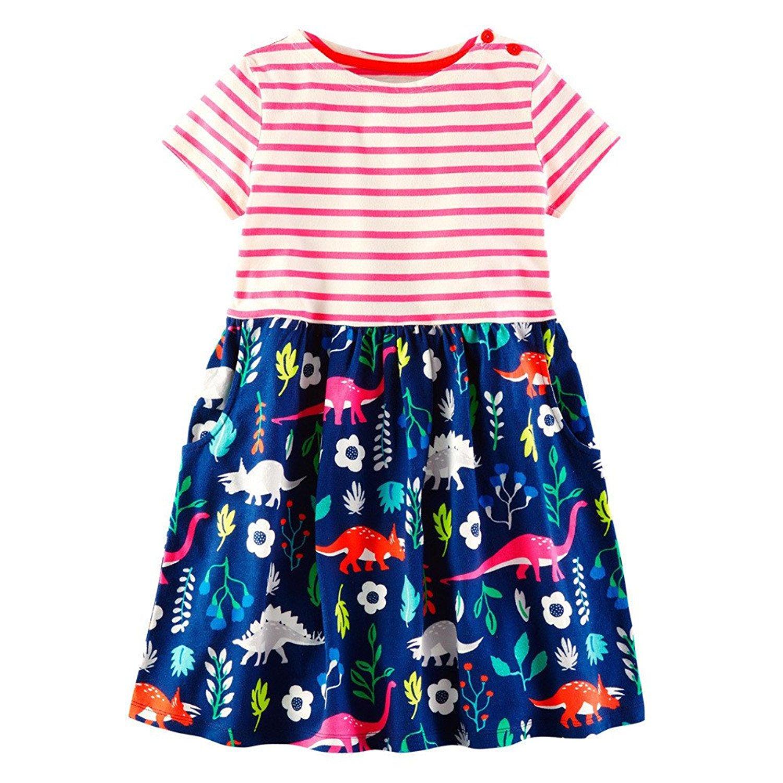 BEILEI CREATIONS Little Girls Dress Cartoon Cotton Kids Summer Unicorn Dress