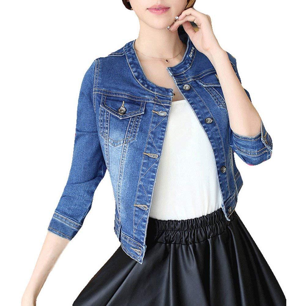 iecool Women's Crew Neck Denim Cotton Blue Cute Three Quarter Sleeves Short Jacket