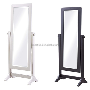 White wood frame full length floor stand dressing mirror for Floor mirror white frame