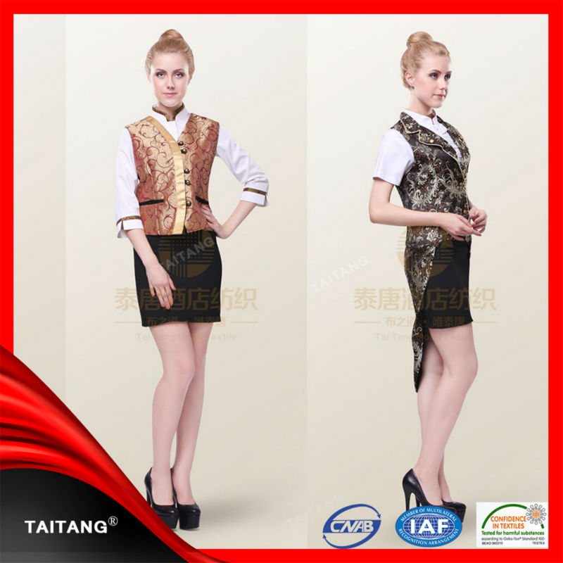 high quality hot sell Factoy Price Blend Long Sleeve stylish hospitality uniforms