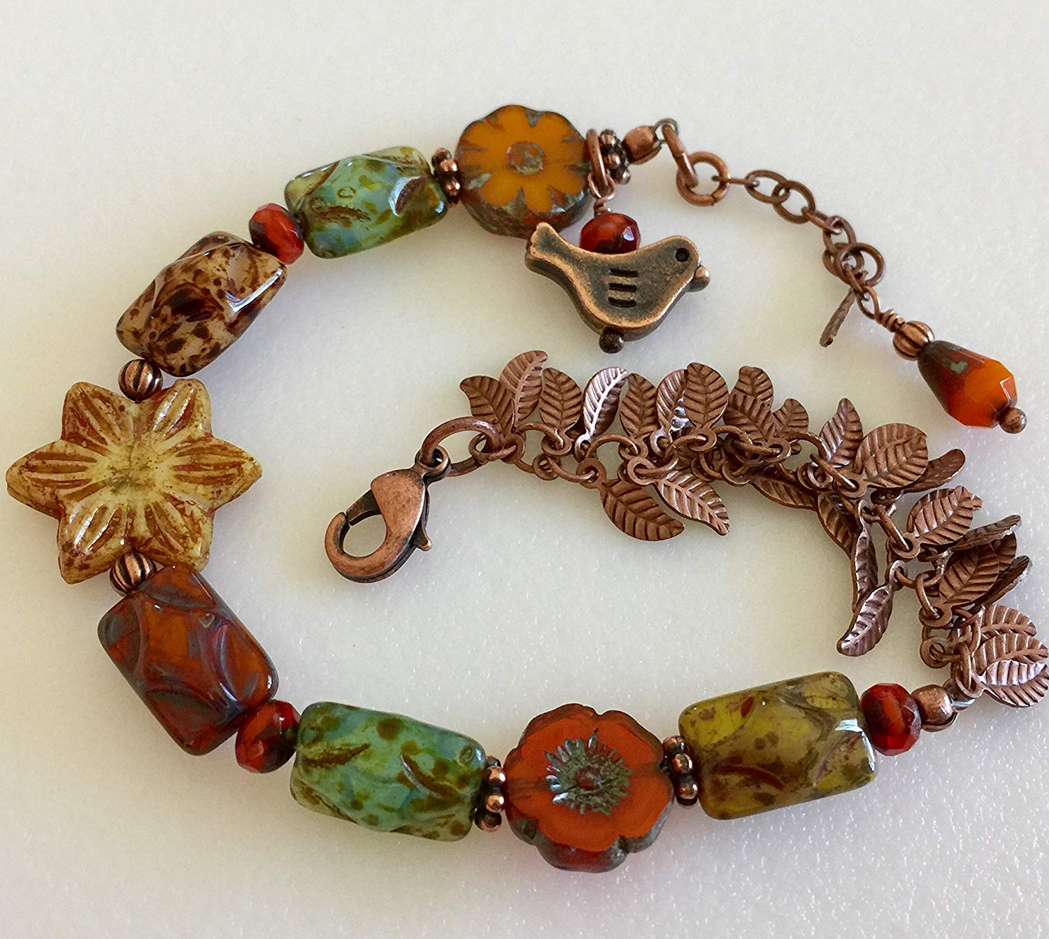 Fall Czech Glass Bracelet, Rustic Beaded Picasso Glass, Premium Czech Beads, Flowers, Leaves, Burnt Orange, Rust, Greens, Copper Accents.
