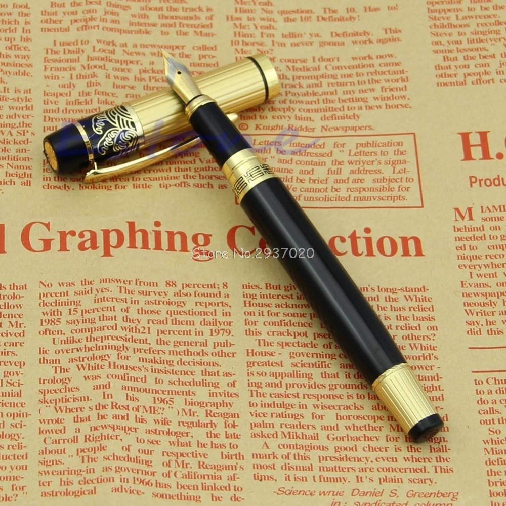 AZSNOW Hero 901 Medium Nib Fountain Pen Luxury Black & Gold Stainless D14